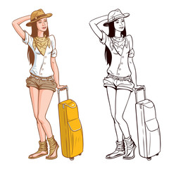 Tourist Woman Vector Illustration