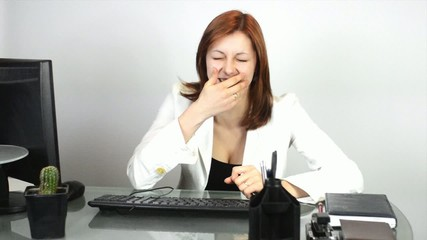 girl laughs at the office