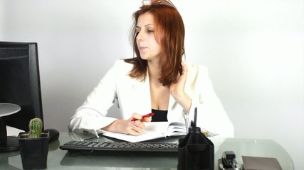 manager taking notes in a notebook looking at the monitor