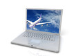 Professional Laptop and flying jet airplane