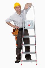 A handyman with a ladder.