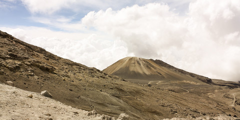 Landscape with volcano. Moor. National Natural Park snow. Andean
