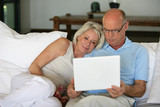 Middle-aged couple sat on sofa with laptop poster