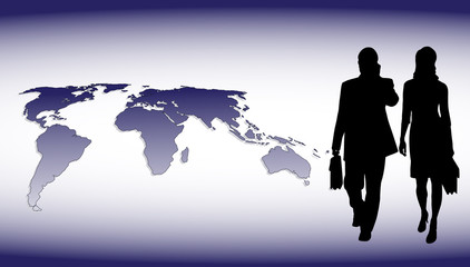businessmen on the background of the planet