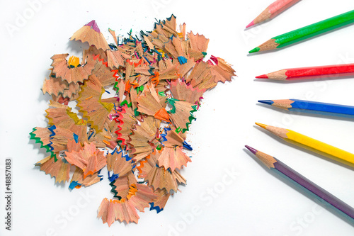 colored pencils sawdust