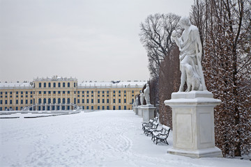 Vienna - Schonbrunn palace and statues in winter
