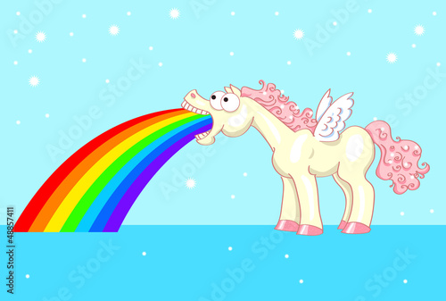 Poster Pony pony with wings and a rainbow