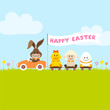 Bunny Car Flag Pulling Duck, Sheep & Egg