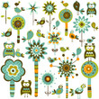 retro style elements;  flowers, trees & birds