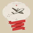 Vintage wedding invitation with retro aircraft