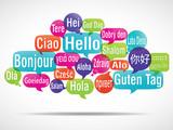 Fototapety nuage de mots bulles : bonjour traduction