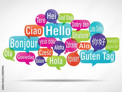 nuage de mots bulles: bonjour traduction