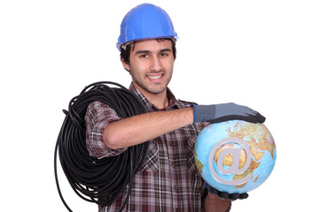 Electrician holding globe