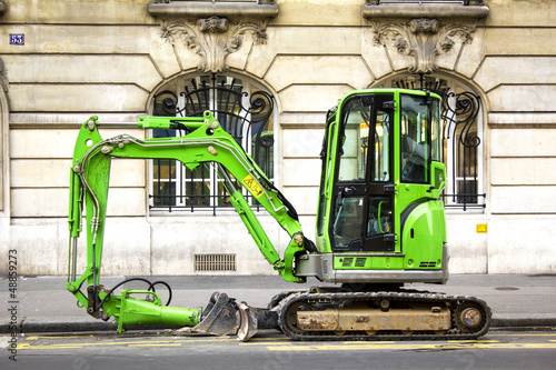 Excavator in the city