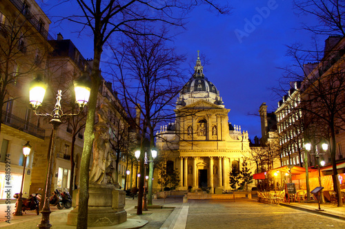 Sorbonne university by night, Paris France