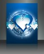 Blue colorful love brochure card vector background