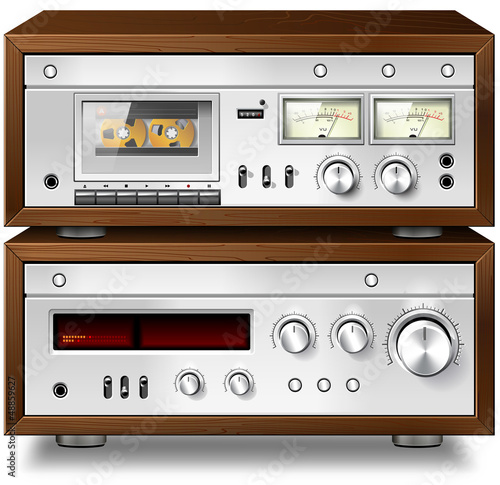Analog Music Stereo Audio Compact Cassette Deck with Amplifier v