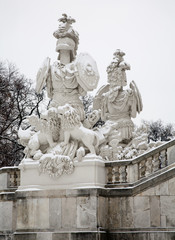 Vienna - Gloriette in Schonbrunn palace and statue of guardians