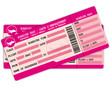 Two Boarding passes. Pink flight coupons.