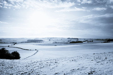 snow over fields