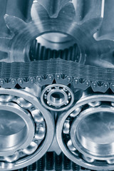ball-bearings and timing chain, duplex blue toning concept