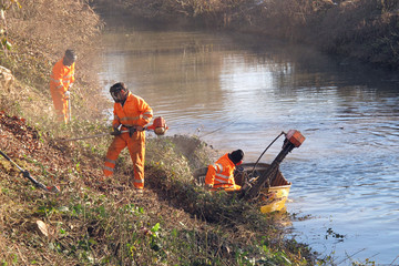 workers at work during cleanup of the banks of the River