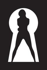 silhouette of a woman figure seen through a key hole