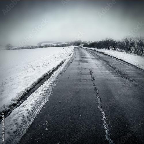 gloomy winter road