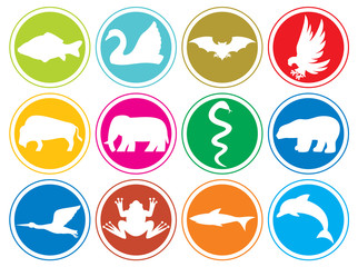 animals icons buttons set 2