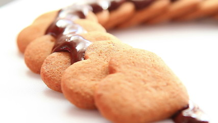Chocolate on biscuits