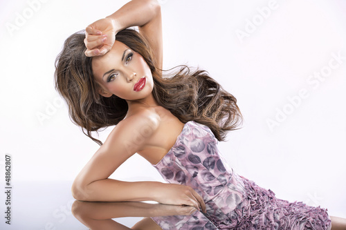 Beauty female portrait with perfect clean skin