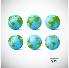 Set of blue globe icons with different continents
