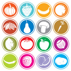 fruits and vegetables icons buttons set