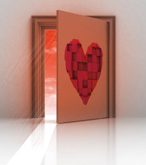 heart painted on back of closed door