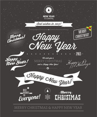 Set of typographic elements. Christmas vector collection