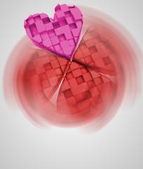 pink heart in red vortex of love card
