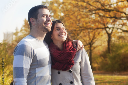 Beautiful couple in the park.