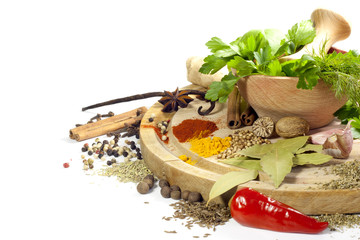 Variety of herbs and spices with mortar on white background
