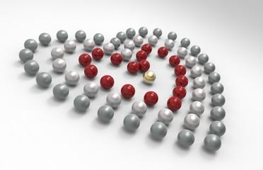 tre cuori di perle naturale e rosse