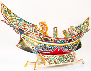 A Thai Southern-most traditional fishing boat, Kolek, Model isol