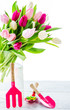 Spring tulips in a glass vase