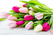 Purple, pink and white tulips bunch