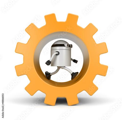 Robot running in a gear