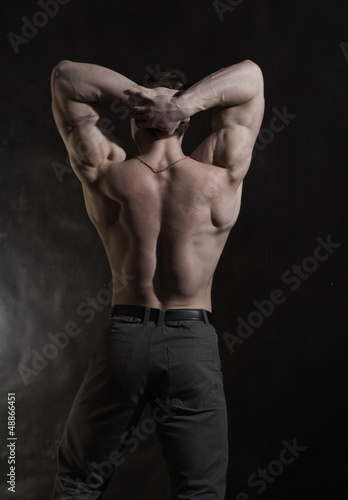 Back of male bodybuilder