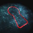 Safety concept: Keyhole on digital background