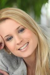 Portrait of blonde teen