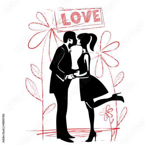 man and woman kissing. silhouette. vector