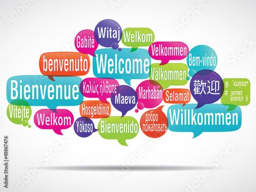nuage de mots bulles: bienvenue traduction