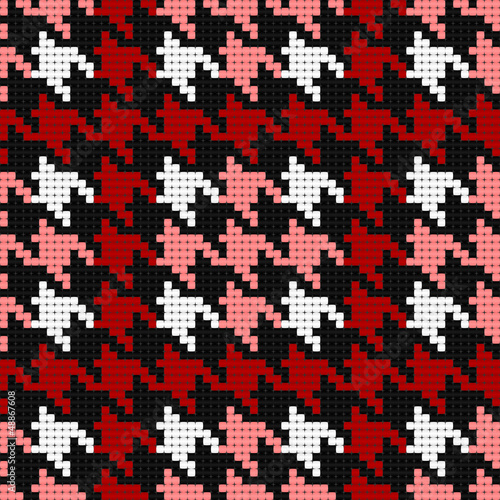 Deurstickers Pixel houndstooth plaid