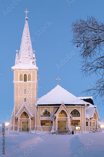 Arvidsjaur Church in winter, Sweden